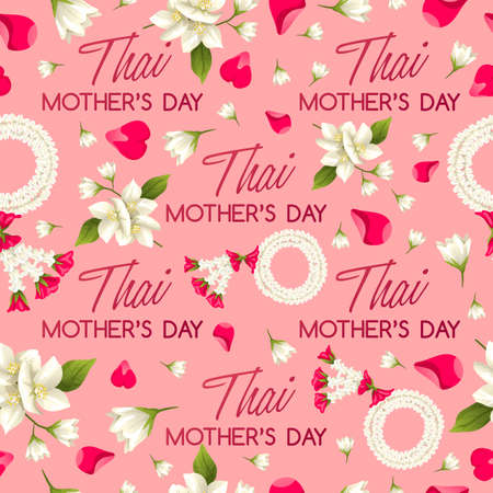 Happy Thai Mother's day Card Seamless Pattern : Vector Illustration