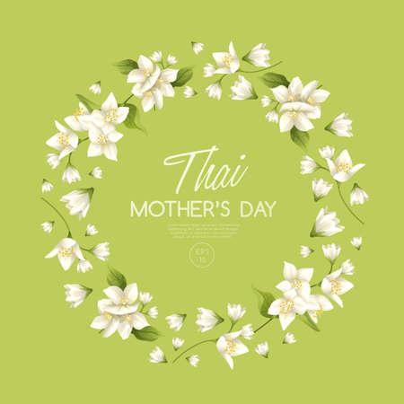 Glückliche thailändische Muttertagskartenschablone mit weißem Jasmin: Vektor-Illustration Vektorgrafik
