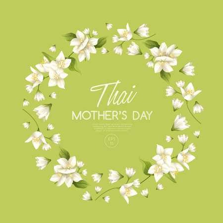 Plantilla de tarjeta de feliz día de la madre tailandesa con jazmín blanco: ilustración vectorial Ilustración de vector