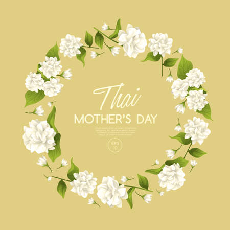 Happy Thai Mothers day card template with White Jasmine : Vector Illustration Иллюстрация