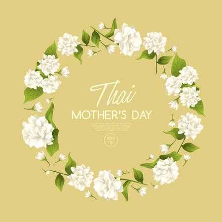 Modèle de carte de fête des mères thaïlandaise heureuse avec jasmin blanc: Illustration vectorielle