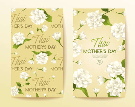 Happy Thai Mother's day card template with White Jasmine : Vector Illustration Иллюстрация