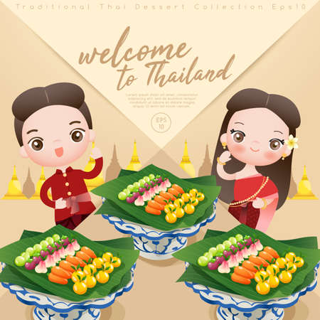 Boy and Girl Wearing Thai Dress with Traditional Thai Dessert