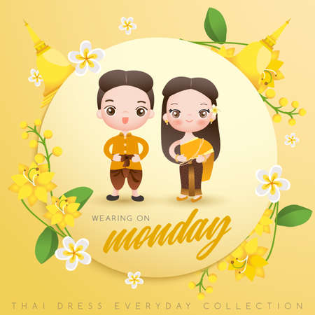 Jongen en meisje traditionele Thaise kleding dragen: vectorillustratie