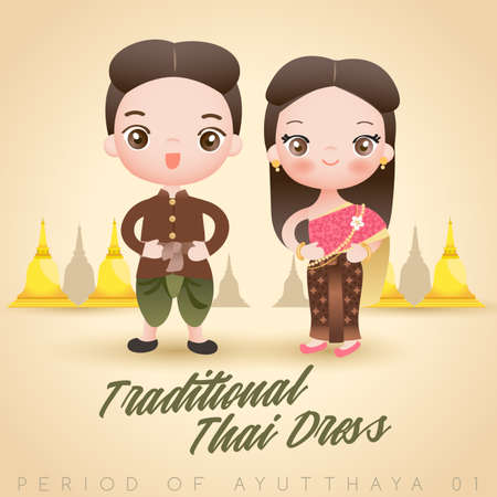 Boy and girl wearing traditional Thai dress : Vector Illustration