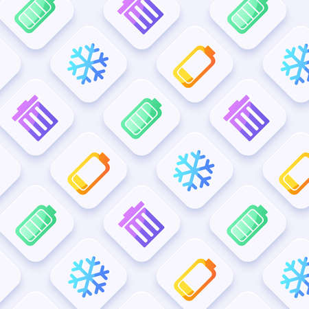 Icon Set for Mobile Interface on White Background : Vector Illustration