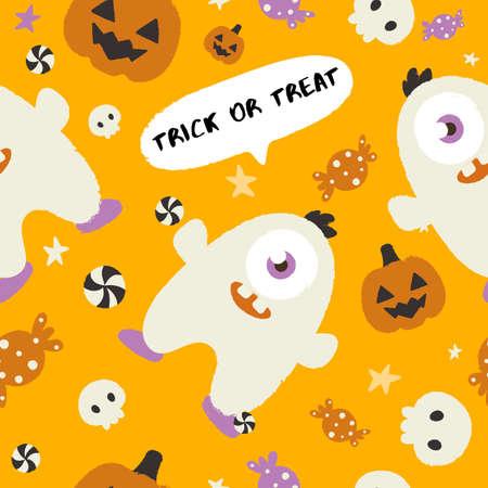Baby Monster on Halloween Background : Seamless Pattern : Vector Illustration