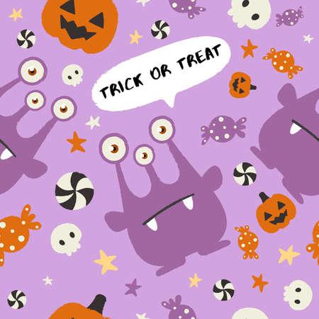 Baby Monster on Halloween Background : Seamless Pattern : Vector Illustration Ilustração
