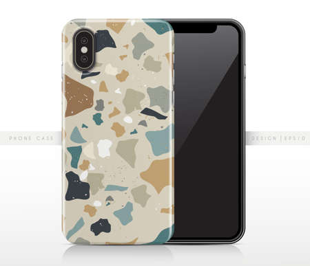 Colorful Terrazzo Pattern on Phone Case Template : Vector Illustration