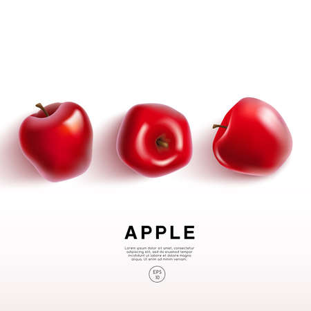 Realistic Red Apple on White Background : Vector Illustration Vettoriali
