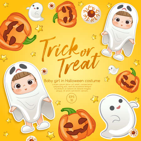 Baby Girl in Halloween Costume : Card Layout Template : Vector Illustration Illustration