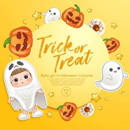Baby Girl in Halloween Costume : Card Layout Template : Vector Illustration 일러스트