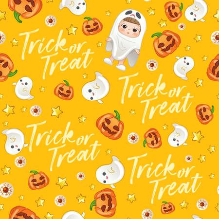 Baby Girl in Halloween Costume : Seamless Pattern : Vector Illustration
