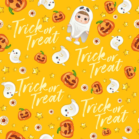 Baby Girl in Halloween Costume : Seamless Pattern : Vector Illustration