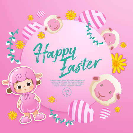 Baby girl in easter costume surrounding with easter colorful elements for Easter Card Template : Vector Illustration
