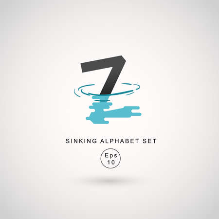 Typography design with water ripple effect isolated on white background : Vector Illustration