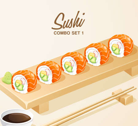 Set of Japanese Food . Mixed Sushi Set on Wooden Plate . Vector Illustration