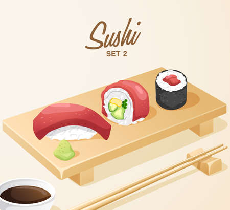 Set of Japanese Food. Mixed Sushi Set on Wooden Plate . Vector Illustration
