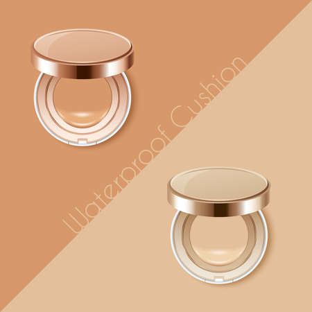 Compact cushion foundation advertising template . Vector Illustration