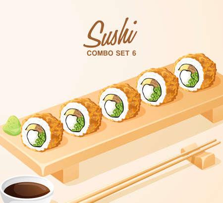 Set of Japanese Food : Sushi Rolls Set on Wooden Plate : Vector Illustration