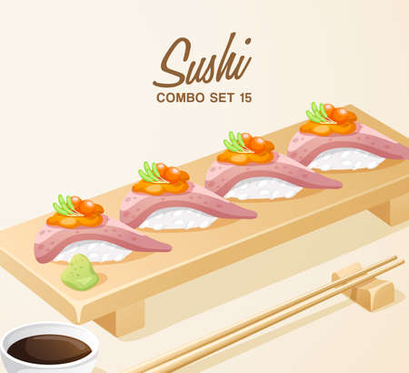 Set of Japanese Food : Sushi Set on Wooden Plate : Vector Illustration