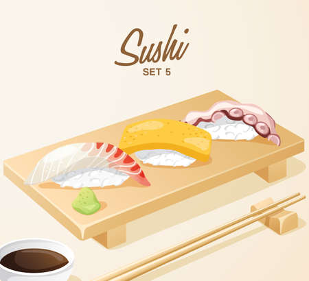 Set of Japanese Food : Mixed Sushi Set on Wooden Plate : Vector Illustration