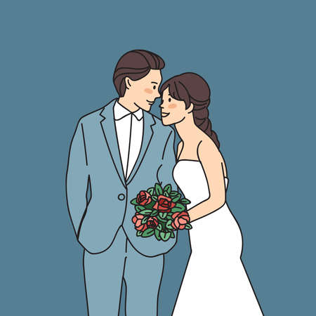 Bride and groom isolated on blue background : Vector Illustration