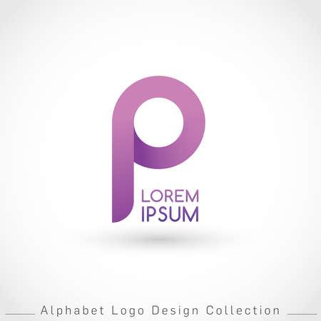 Letter P Logo Design Template isolated on white background : Vector Illustration Иллюстрация