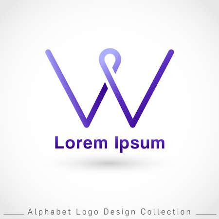 Letter W Logo Design Template isolated on white background : Vector Illustration