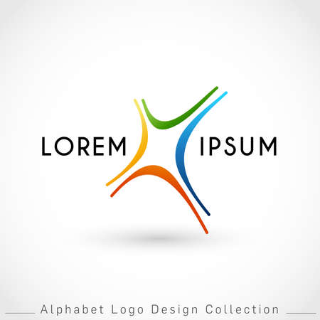 Letter X Logo Design Template isolated on white background : Vector Illustration Иллюстрация
