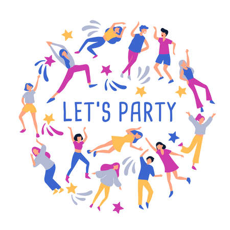 Layout template with cute young men and women dancing together , template for card, banner and poster : Vector Illustration