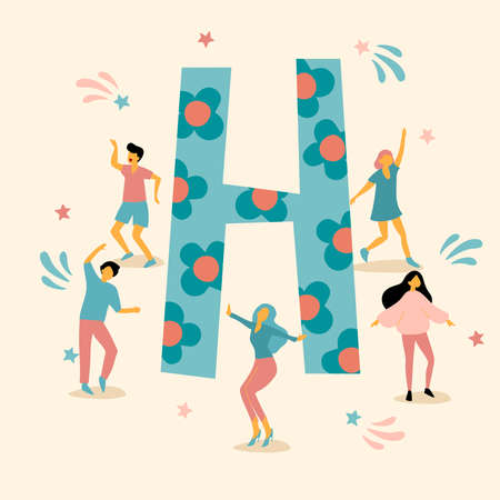 Uppercase letter with young men and women dancing together : Vector Illustration