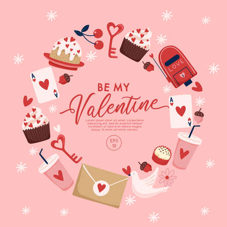 Valentine's Day elements with text and layout template for cards and banner design : Vector Illustration