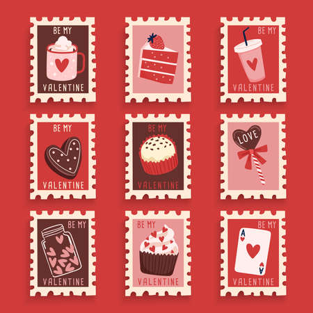 Valentines Day elements in postage stamps collection : Vector Illustration