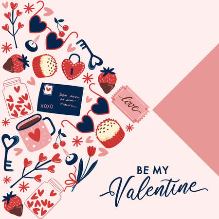 Valentines Day elements with text and layout template for cards and banner design : Vector Illustration 向量圖像