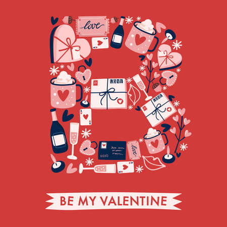 Holiday Alphabet collection for card design : Valentine elements forming a shape of uppercase letter : Vector Illustration 向量圖像
