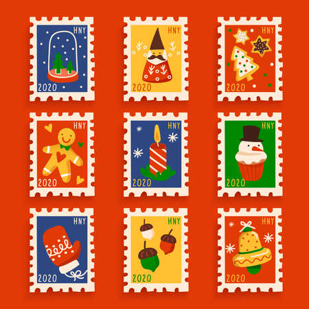 Christmas elements in postage stamps collection : Vector Illustration