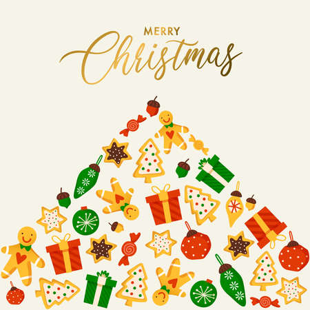 Christmas elements with text and layout template for cards and banner design : Vector Illustration