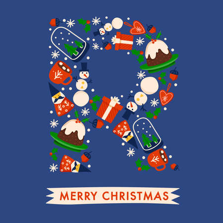 Holiday Alphabet collection for card design : Christmas elements forming a shape of uppercase letter : Vector Illustration