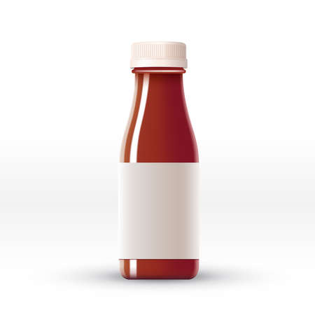 Bottle of tomato juice with blank label isolated on white background : Vector Illustration