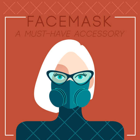 Set of trendy women wearing stylish surgical mask : Vector Illustration Vectores