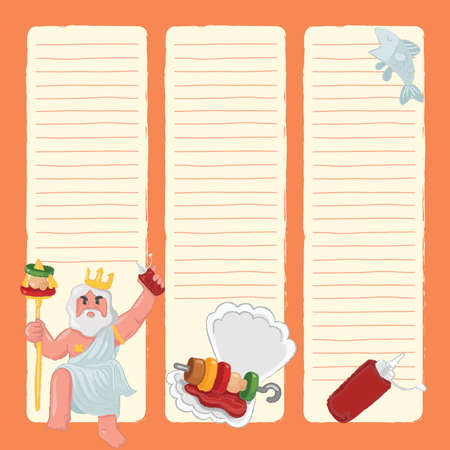 Notebook Template with seafood elements : Vector Illustration