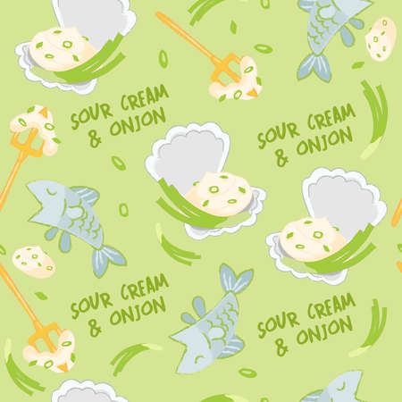 Sour cream, onion and seafood elements seamless pattern isolated on pastel background : Vector Illustration