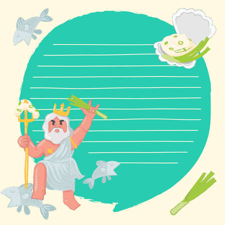 Notebook Template with sour cream, onion and seafood elements : Vector Illustration