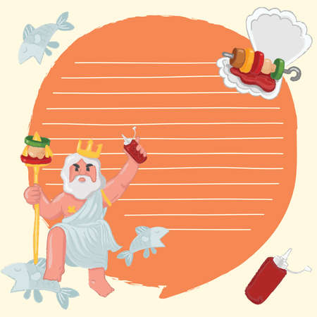 Notebook Template with BBQ and seafood elements : Vector Illustration