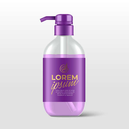 Realistic plastic bottles with pump dispenser for skincare product : shower gel, shampoo, cream or lotion : Vector Illustration