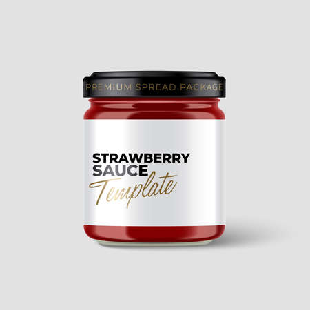 Jam Jar Collection : Premium glass container with label template isolated on light grey background : Vector Illustration