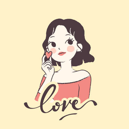 Pretty young girl with wavy hair holding mini heart isolated on light yellow background : Vector Illustration Illustration
