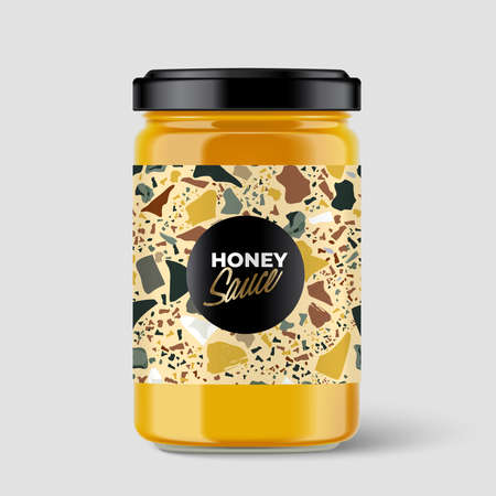 Premium spread container with Terrazzo pattern on label isolated on light grey background : Vector Illustration Illustration