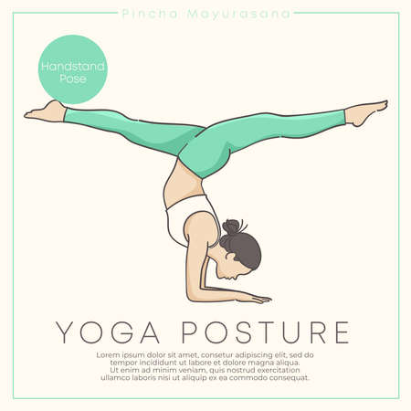 Banner design with hand drawn illustration of healthy young woman practicing yoga in pastel outfit : Vector Illustration